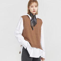 slit loose wool kint vest