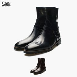 [피렌체아뜨리에] 유광 버클디테일 앵클부츠 9501-B