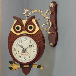 (kjco045)저소음 원목부엉이 양면시계