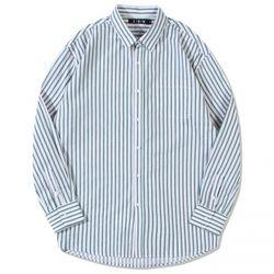 티킹 오버핏 스트라이프 셔츠: 그린