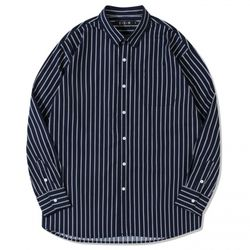 코튼 스트라이프 오버사이즈 셔츠 :네이비