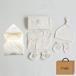 오가닉출산선물6종세트(반짝블루5종+꿀잠겉싸개)