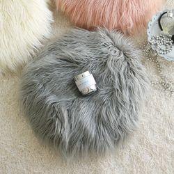 러블리 램 fur 원형방석-그레이(솜포함)