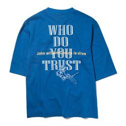 자니카슨 트러스트 7부 티셔츠 - BLUE