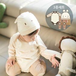 오가닉 토순이탄생선물3종세트(수트+바지+모자)