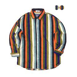Multi Stripe Corduroy Shirt (2color)(unisex)
