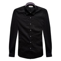 슬림블랙 포인트배색카라 긴팔셔츠