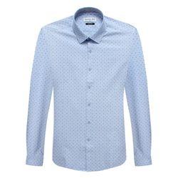 슬림블루 도트 패턴 배색카라 긴팔셔츠