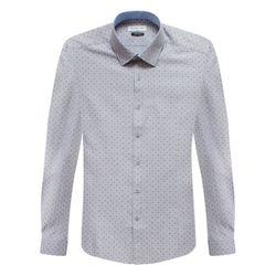 슬림그레이 도트 패턴 배색카라 긴팔셔츠