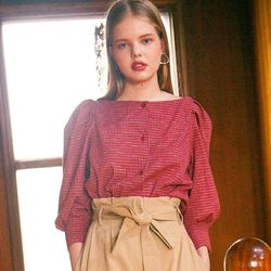 MONT CHECK BALLOON BLOUSE (RED)