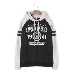 마블 캡틴 스트라이프 소매 후드 티셔츠M011HD