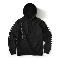 [레이쿠] dotted line hoodie-k-k black 기모 후드티