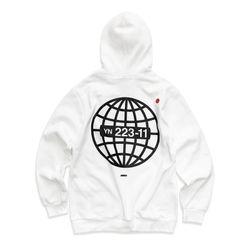 [레이쿠] earth sun hoodie-k white 기모 후드티