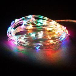 LED 50P건전지용 드럼전구 투명선 자동칼라