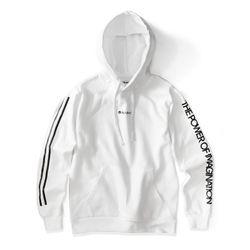 [레이쿠] two line hoodie-k white 기모 후드티