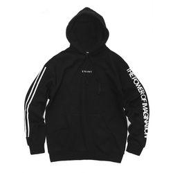[레이쿠] two line hoodie-k black 기모 후드티