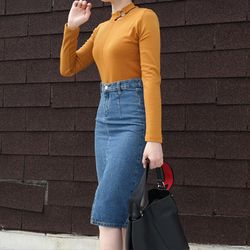 Simple slit denim skirt
