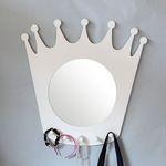 벨-화이트 우드 왕관 훅 거울