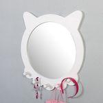 벨-화이트 우드 캣 훅 거울