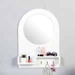 벨-화이트 우드 선반 훅 거울