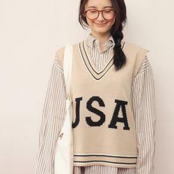USA 니트 조끼 (kn383)