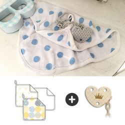 아기수건3p세트+화이트 체인과클립