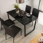 더 테이블 천연대리석 스틸 1400 식탁(의자별도)