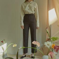STRAIGHT HIGH-WAIST PANTS (DARK BROWN)