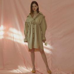 RUFFLE SHIRT DRESS (BEIGE)
