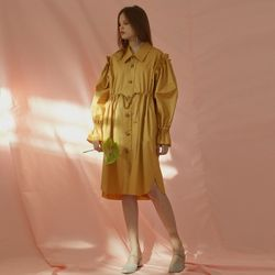 RUFFLE SHIRT DRESS (MUSTARD)