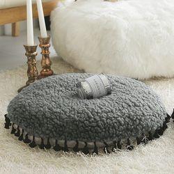 컬리 헤어 타슬 원형방석-그레이(솜포함)