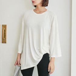 [로코식스] basic slit unbalance t-shirts티셔츠