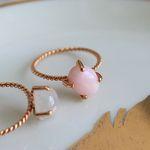 장미석 클로버 반지 rose quartz clover ring