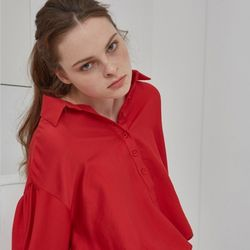 STRING COLLAR BLOUSE (RED)