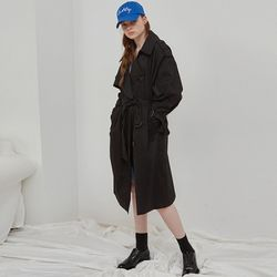 OVER SIZE TRENCH COAT (BLACK)