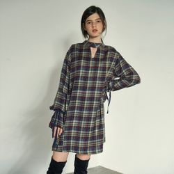 NECK POINT BELL SLEEVE CHECK ONEPIECE(ML)