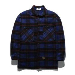 플루크 체크 캐시밀론 오버사이즈 셔츠 FLS017Z303BL