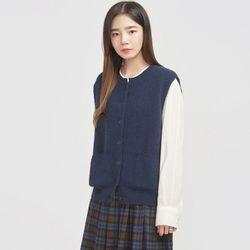 soft weave button angora vest