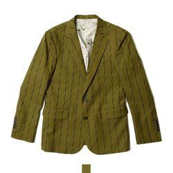남자아우터 줄무늬패턴 카키 콤비 자켓