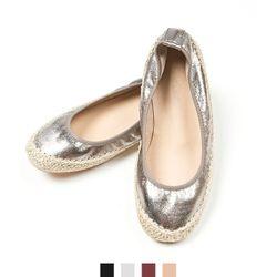 여자신발 은박 밴딩플랫슈즈