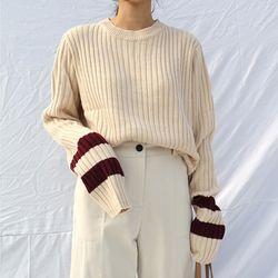 Sleeves color crop knit