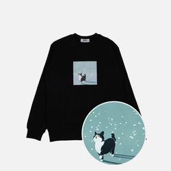 꽃잎고양이 기모 맨투맨-블랙