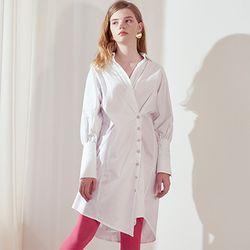 Wrap Shirt Dress [White]