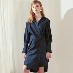 Wrap Shirt Dress [Navy]