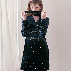 Gold Star Velvet Dress