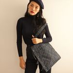 ribbon detailed check shoulder bag (navy)