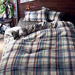 프렌치 린넨 이불 커버 3종 세트(체크무늬) 더블