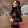 rose pointed velvet cylinder bag