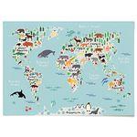 패브릭 천 포스터 F089 동물 세계지도 [중형]