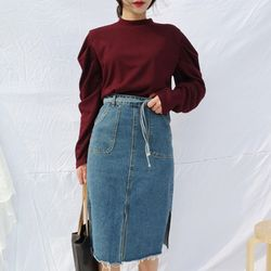 Daily denim slit skirt